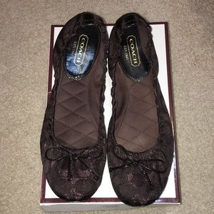 Coach chocolate colored sparkly flats gently worn